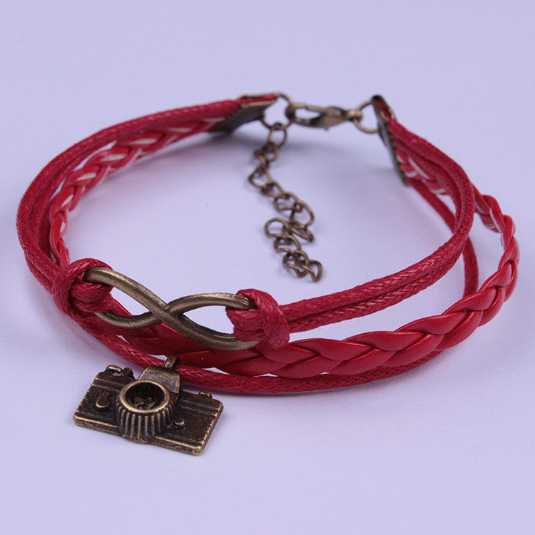 Camera Red Leather Cord Woven Bracelet