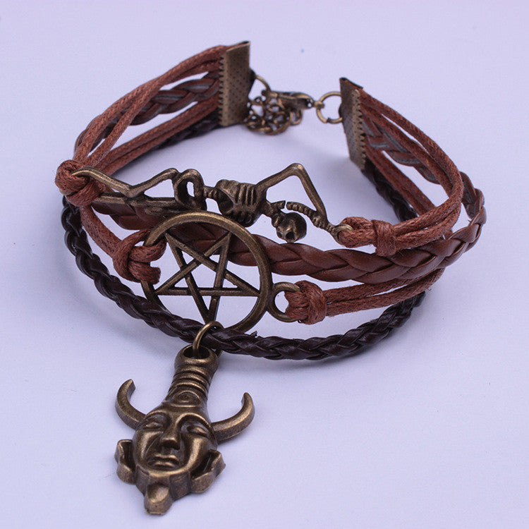 Indian Skull Avatar Rope Woven Bracelet