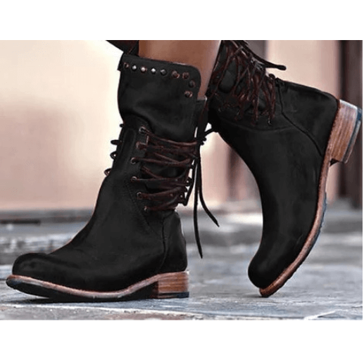 Leather Lace Up Low Heel Rivet Calf Boots