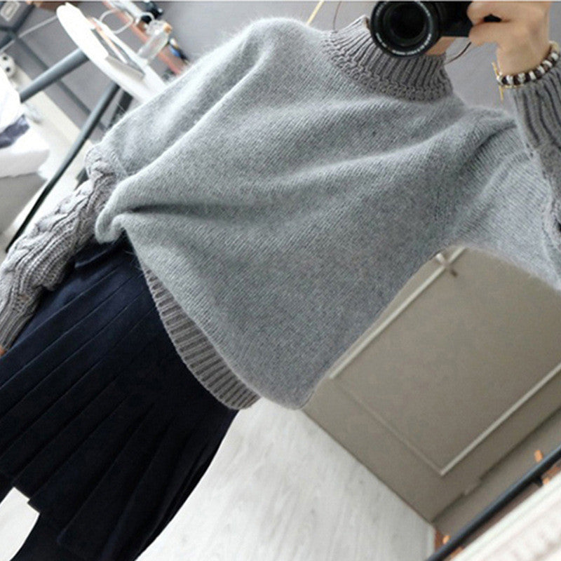High Neck Cable Pullover Solid Color Sweater