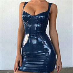 Sexy Backless Club Party Short Dress Solid Black Wet Look Latex Bodycon Faux Leather Push Up Bra Mini Micro Dress