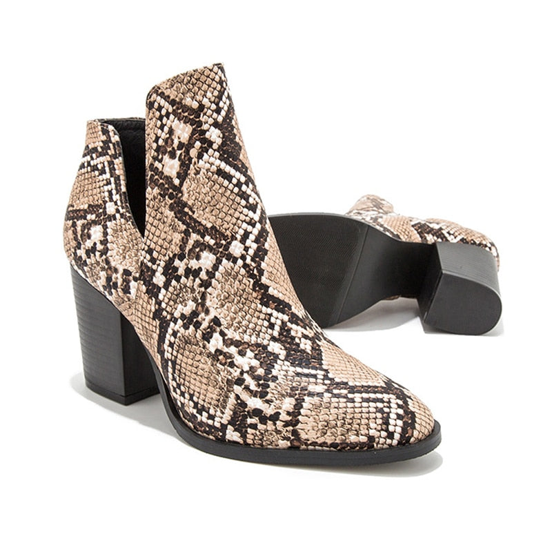 Sexy Snakeskin Leather Chunky Heels Ankle Boots