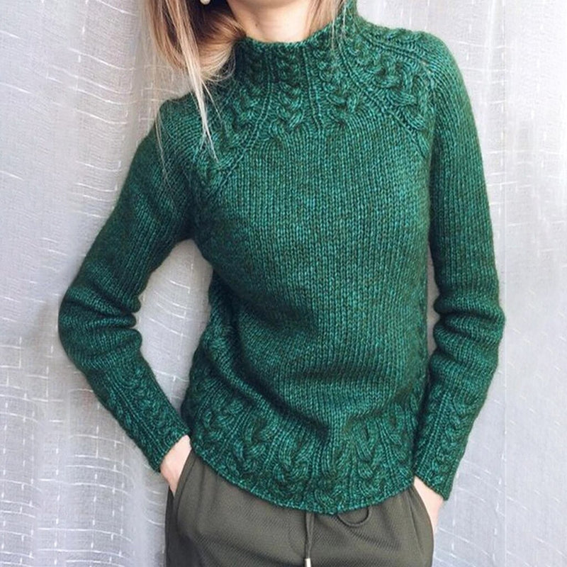 Women Sweater Solid Color Linen Sweater Knitted Turtleneck Sweater