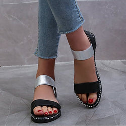 Elastic Band Flats Open Toe Sandals