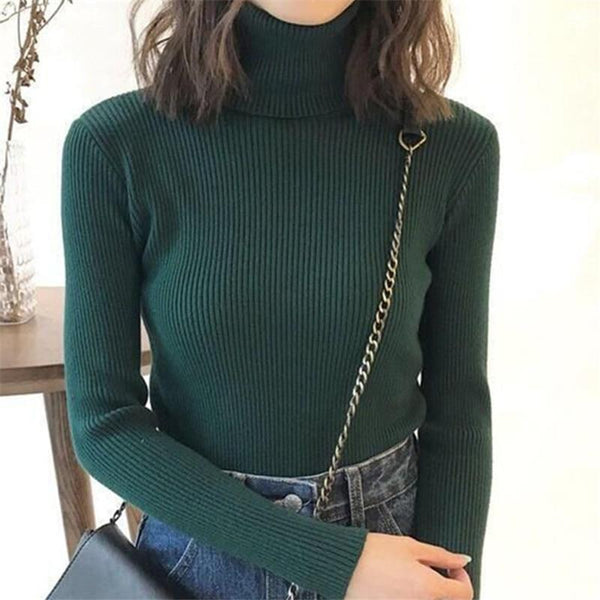 Women Sweater Casual Solid Turtleneck Female Pullover Full Sleeve Warm Soft Spring Autumn Winter Knitted Cotton