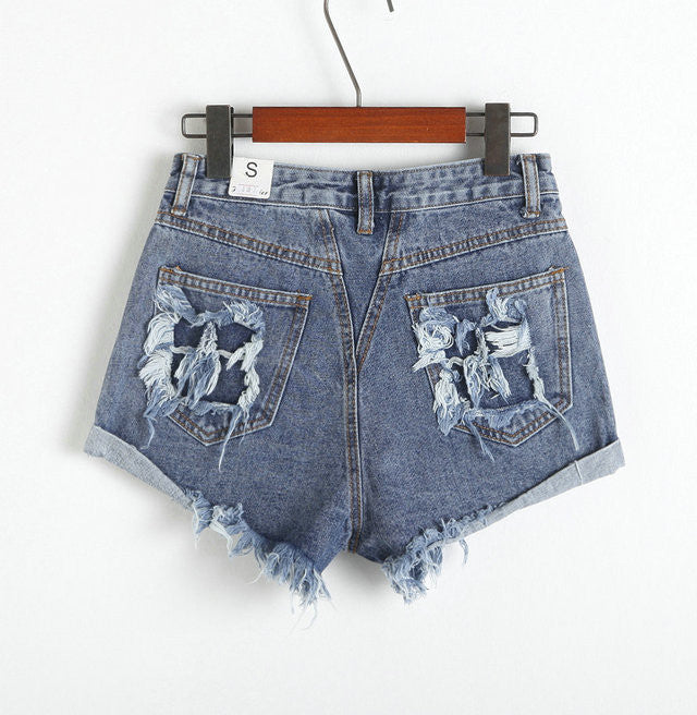 Rough Edges Holes High Waist Wide Leg Denim Shorts