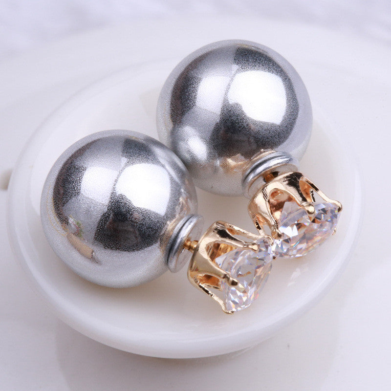 Fashion Crystal Zircon Double Pearl Earring