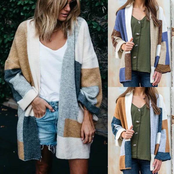 Colorblock Long Knit Cardigan Sweater