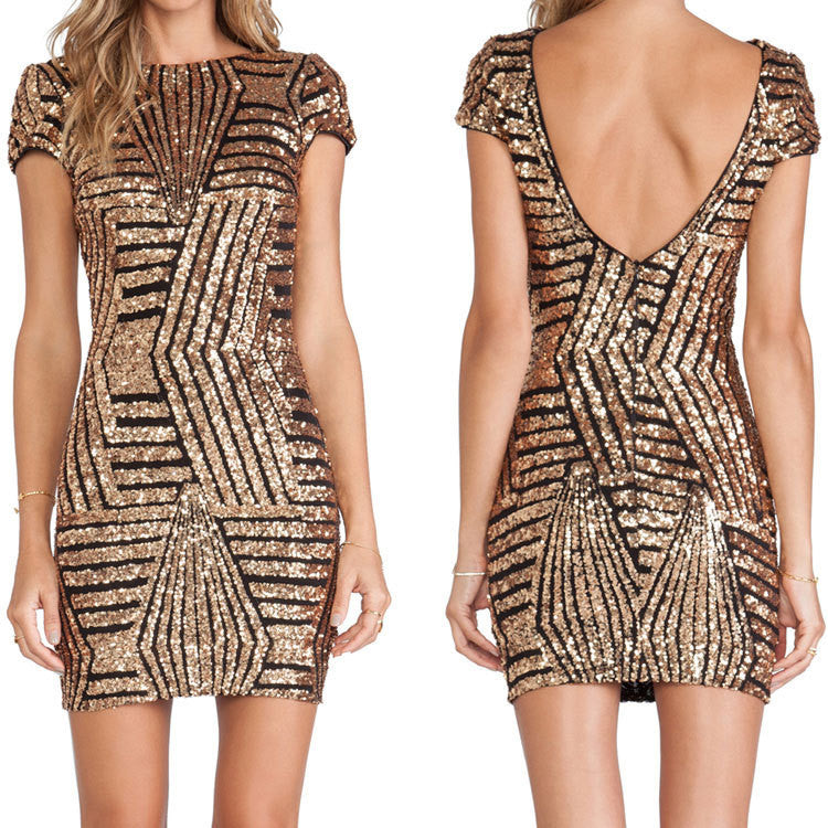 Sexy Sequins Backless Geometric Short Bodycon Dress