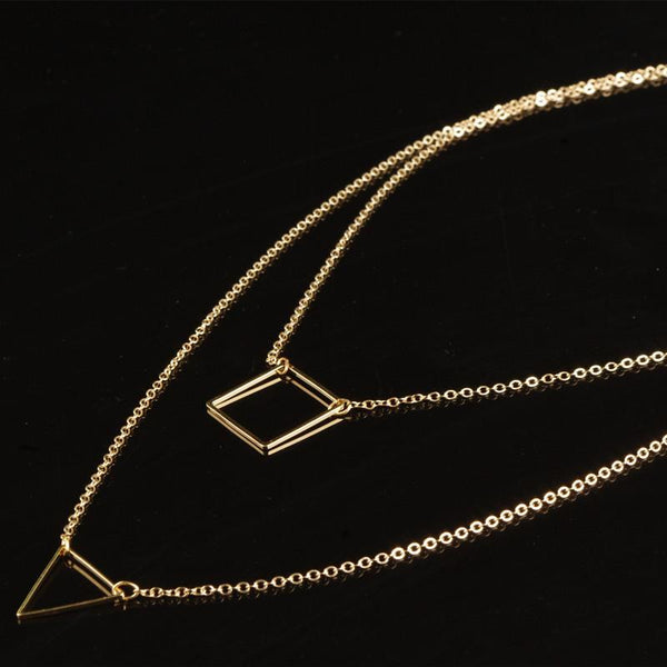 Geometric Triangle Square Double Necklace
