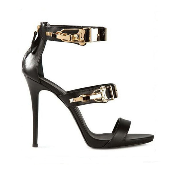 Sexy Leather Buckle Open Toe High Heel Sandals