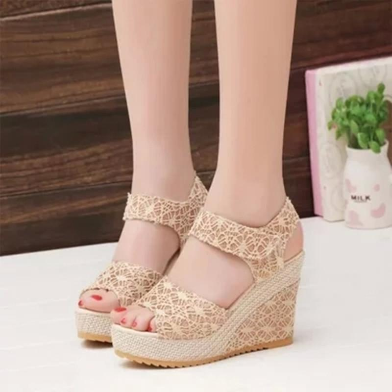 Hollow Out Breathable Velcro Wedge Sandals