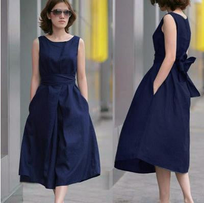 Fashion Cotton Linen Sleeveless Long Dress With Belt