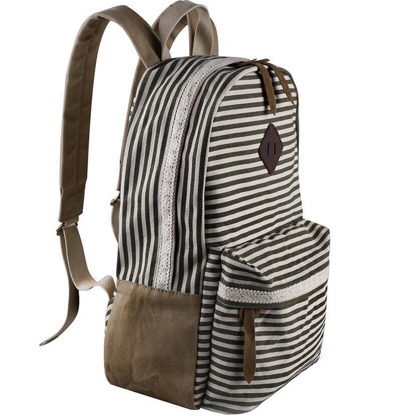 2016 Classical Stripe Lace Canvas Backpack - Meet Yours Fashion - 6