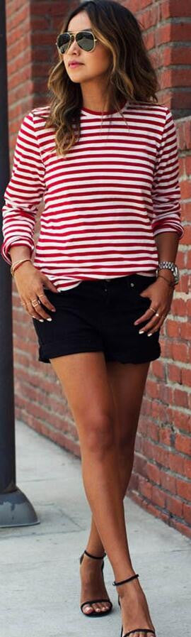 Red White Stripe Scoop Long Sleeve Loose T-shirt