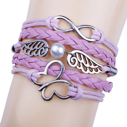 Romantic Pink Butterfly Hand-made Leather Cord Bracelet
