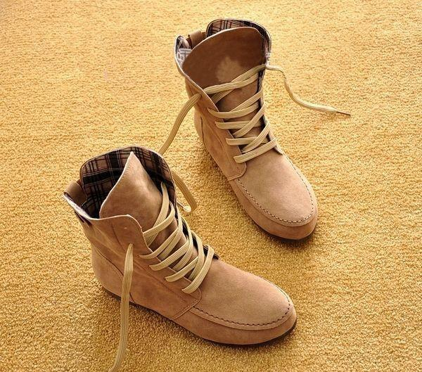 Winter Solid Color Lace Up Flat Short Boots