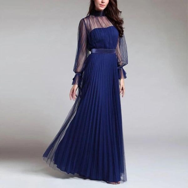 Mesh Cover Up Long Pleated Dress