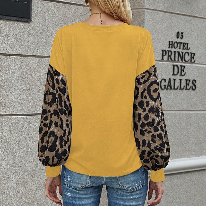 Leopard Sleeve Patchwork Top