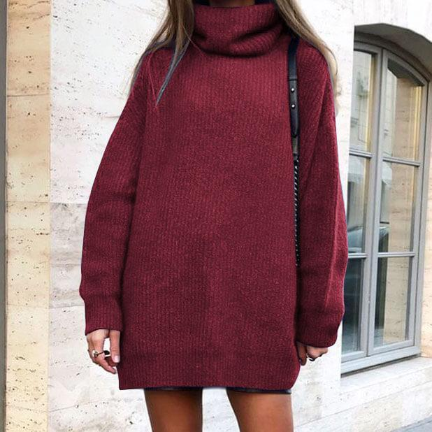 Turtleneck Pure Color Knit Sweater