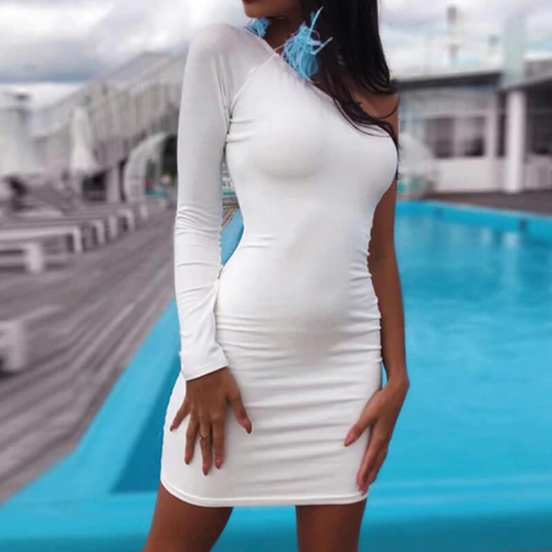 One Sleeve Slash Neck Soild Short Bodycon Dress