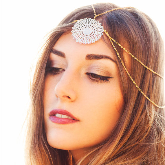 Fashion Metal Flower Tassel Hair Clips