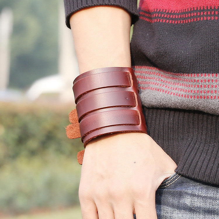 Personality Belt Buckle Wide Leather Bracelet