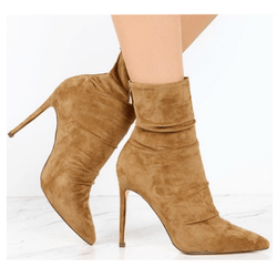 High Heel Suede Pointed Toe Calf Boots