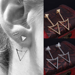 Geometric Triangle Metal Stud Earrings