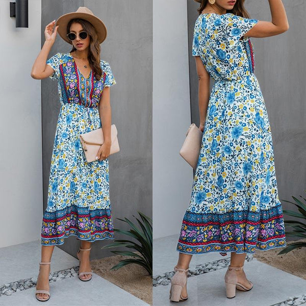 Vintage Floral Short Sleeve Long A Line Dress