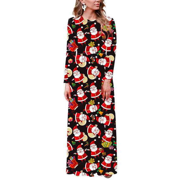 Christmas Black Santa Print Maxi Dress
