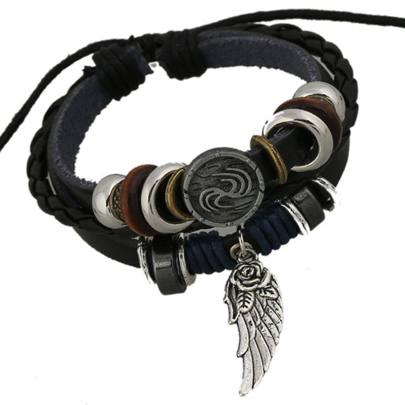 Unique Symbol Beaded Leather Bracelet
