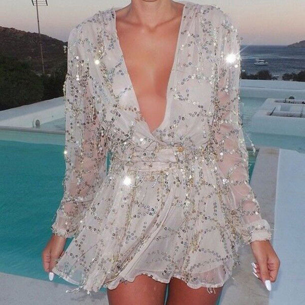 Sequins Tassel Deep V-neck  Long Sleeve Mini Dress