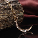 Beautiful Street Style Diamante Moon Necklace