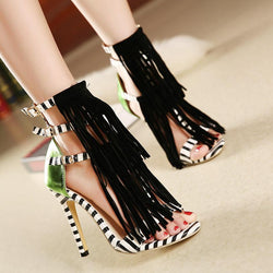 Unique Tassel Color Matching High Heeled Sandals