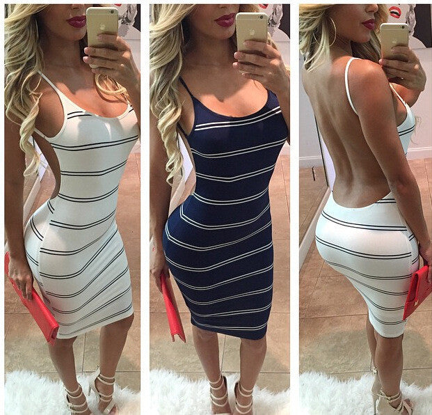 Backless Stripe Knee Length Bodycon Dress - May Your Fashion - 1