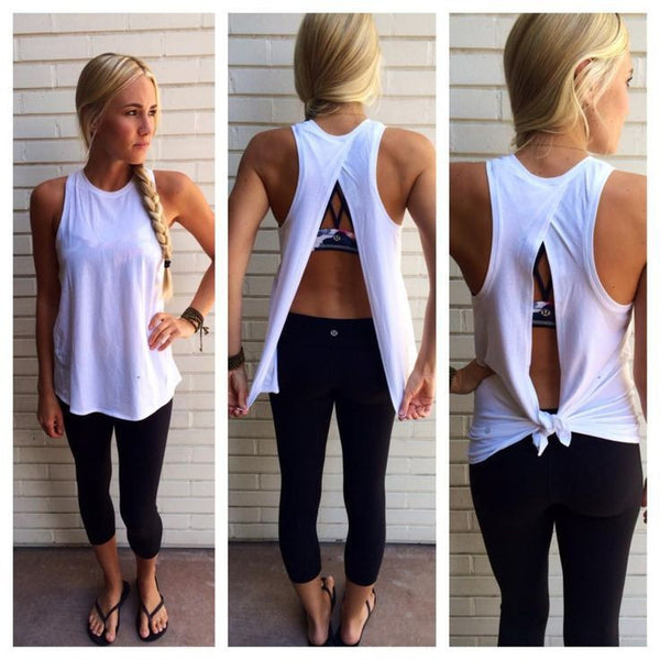 Scoop Backless Sleeveless Pure Color Casual Blouse - May Your Fashion - 2