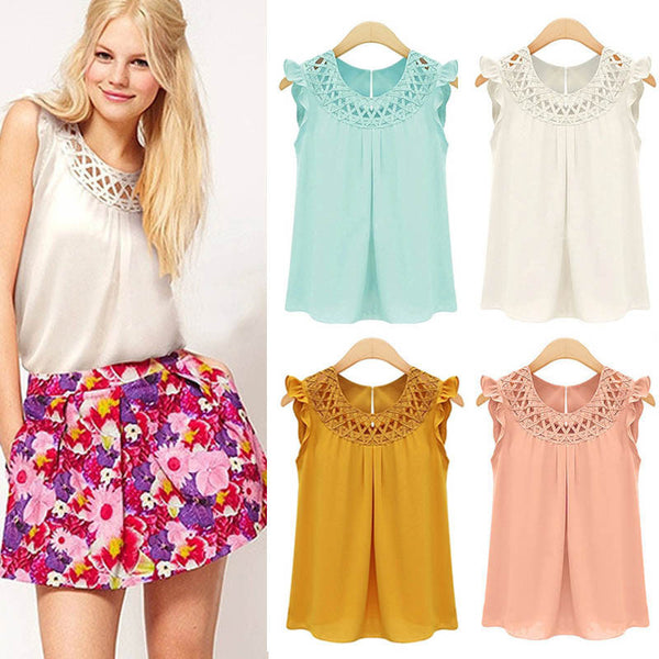 Hollow Sleeveless Casual Knit Scoop Chiffon Blouse - May Your Fashion - 3