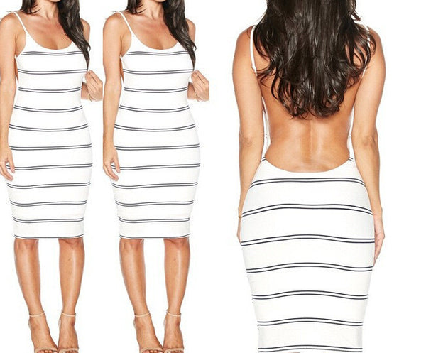 Backless Stripe Knee Length Bodycon Dress - May Your Fashion - 2