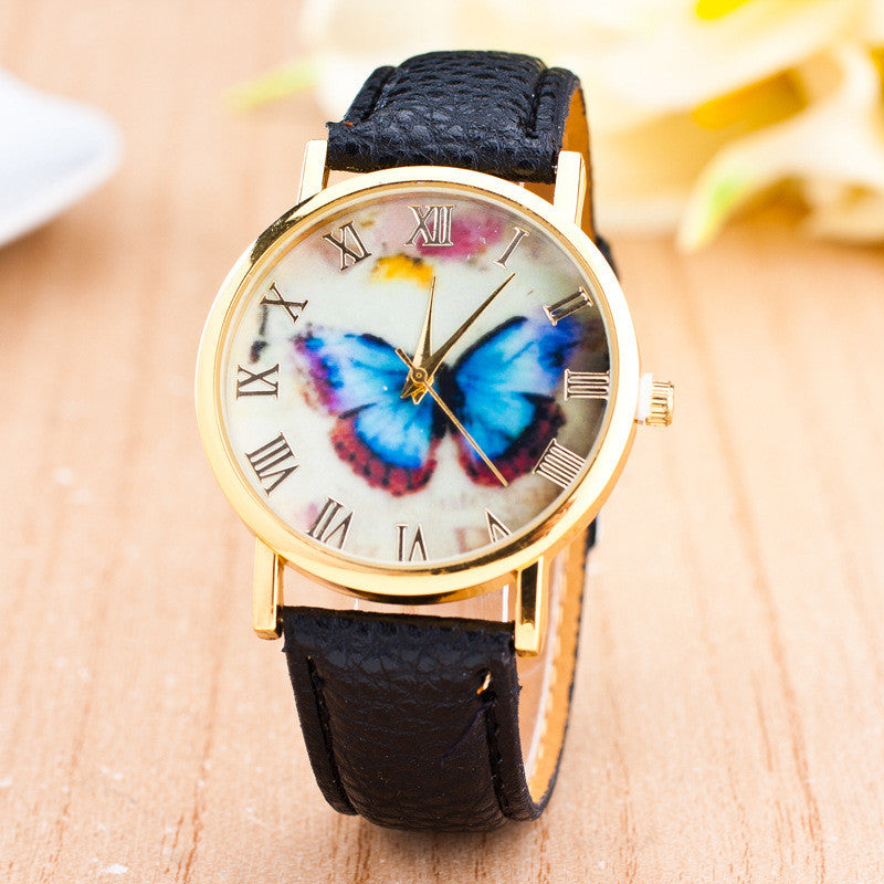 Romantic Butterfly Print Watch