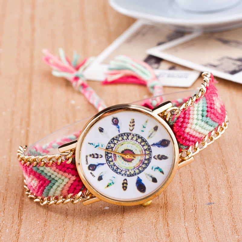 Peacock Feathers Print Weaving Watch