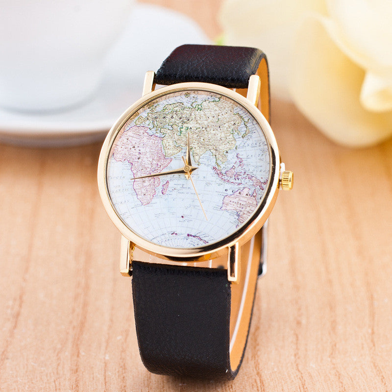The World Map Faux Leather Strap Watch