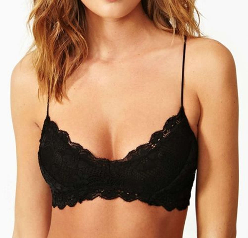 Sexy Scallop Lace Mesh Bra Crop Top