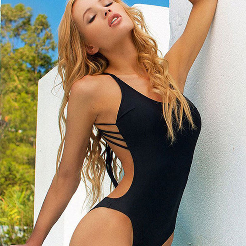 Pure Color Straps Back Scoop Neck One Piece Swimwear