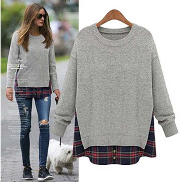 Plus Size Loose Scoop Long Sleeve False Two-piece T-Shirt