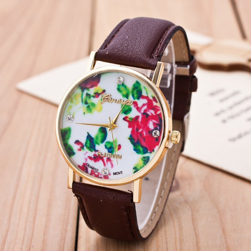 Floral Print Crystal Fashion Watch