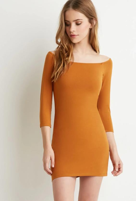 Knitting Pure Color Off Shoulder Sexy Dress