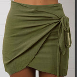 Pure Color Bodycon Straps Slim Short Skirt