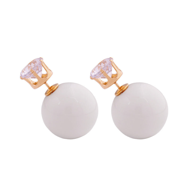 Zircon Crystal Candy Double Side Pearl Earring
