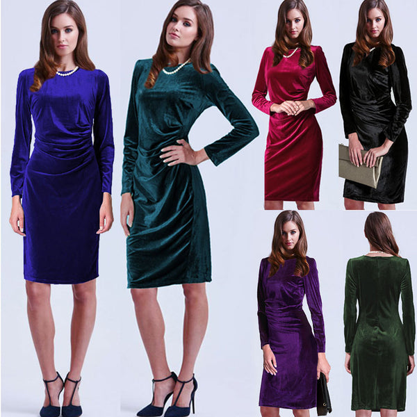 Fashion Velvet Scoop Long Sleeve Knee-Length Dress